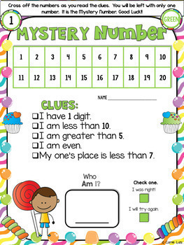 Mystery Numbers Wipe Off Card (Math Station)