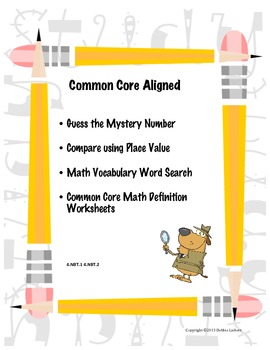 Common Core Aligned Mystery Numbers using Place Value and Math Vocabulary Packet