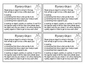 Mystery Objects - A Getting to Know You Guessing Game and Writing Prompt