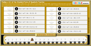 Mystery Phrase:Find a & b of Standard Form of QF(Google Interactive & Hard Copy)