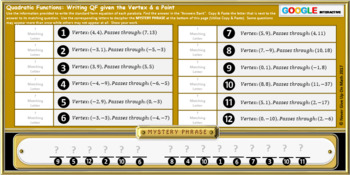 Mystery Phrase: Write Quadratic Functions (Google Interactive & Hard Copy)