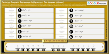 Mystery Phrase: Difference of 2 Squares Advance (Google Interactive & Hard Copy)