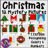 Christmas Mystery Pictures- Hundreds Chart Recognizing Colors and Numbers