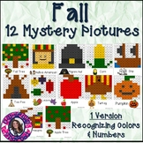 Fall Mystery Pictures- Hundreds Chart Recognizing Colors and Numbers