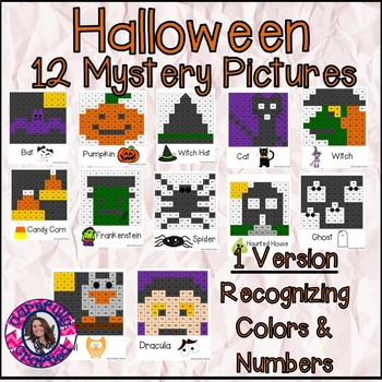 Halloween Mystery Pictures- Hundreds Chart Recognizing Col