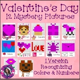 Valentine's Day Mystery Pictures- Hundreds Chart Recognizing Colors & Numbers