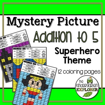 Mystery Picture - Addition to 5 - Superhero Theme