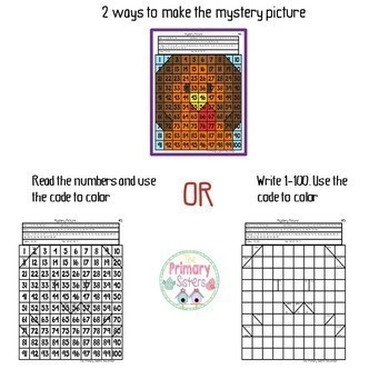 Mystery Picture Color the 100 chart Year Long Bundle