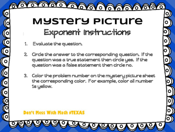 TEK 6.7a - Mystery Picture - Exponents
