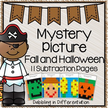 Fall and Halloween Subtraction Mystery Picture