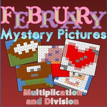 February Multiplication and Division Review Mystery Pictures
