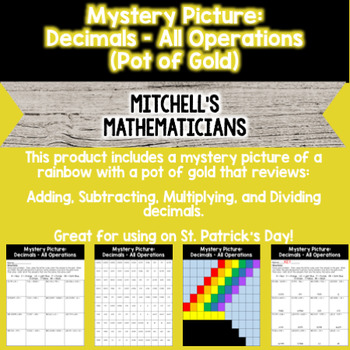 Mystery Picture For Decimals All Operations Pot of Gold