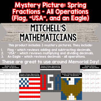 Mystery Picture For Decimals Bundle (All Operations) - Memorial Day