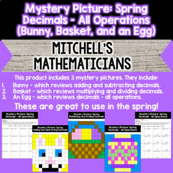 Mystery Picture For Decimals Bundle All Operations Spring