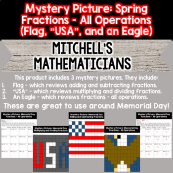 Mystery Picture For Fractions Bundle (All Operations) - Memorial Day