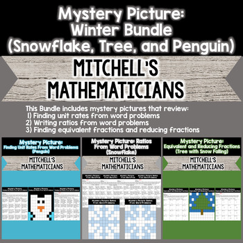 Mystery Picture For Ratios, Unit Rates, and Finding Equivalent Fractions BUNDLE