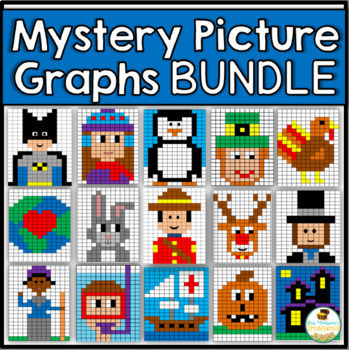 Mystery Picture Graphs Activities Bundle - Halloween