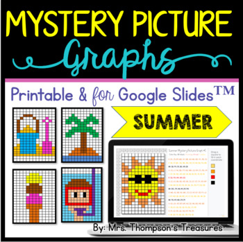 End of the Year Activities Summer Coordinate Graphing Pictures
