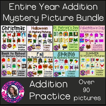 Mystery Picture Growing Bundle Addition Practice