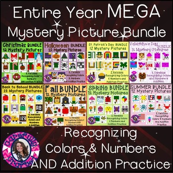 Mystery Picture Mega Bundle Recognizing Colors & Numbers and Addition Practice