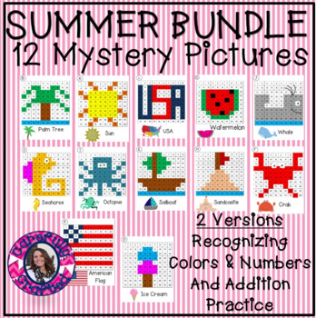 Entire Year Mystery Picture Mega Bundle Recognizing Colors and Addition Practice