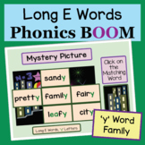 Phonics Mystery Picture Long E, 'y' Word Family: Boom Cards, Distance Learning