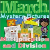 March Multiplication and Division Review Mystery Pictures