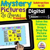 Mystery Picture Math Digital Boom Cards Freebie - Subtract
