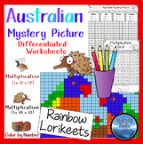 Multiplication Color by Number: Mystery Picture Math Australian Lorikeets