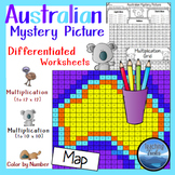 Multiplication Color by Number: Mystery Picture Math Map of Australia
