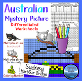 Multiplication Color by Number: Mystery Picture Math Sydney Harbour Bridge