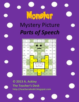 Mystery Picture Parts of Speech Reading Monster