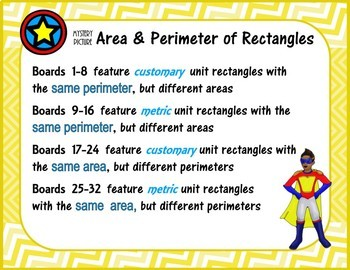 Mystery Picture SAME Area or Perimeter (Rectangles)