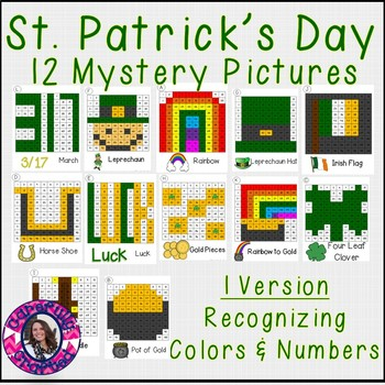 St. Patrick's Day Mystery Pictures- Hundreds Charts Recognizing Colors & Numbers