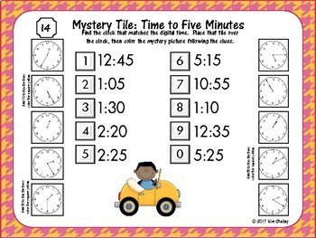 Mystery Picture Telling Time to FIVE Minutes