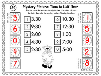 Mystery Picture Telling Time to HALF HOUR