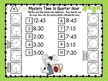 Mystery Picture Telling Time to QUARTER Hour