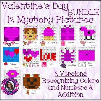 Valentine's day Mystery Pictures BUNDLE- 12 Pictures Addition and Recognizing