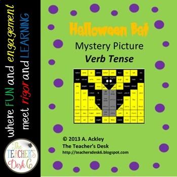 Mystery Picture Verb Tense Halloween Bat