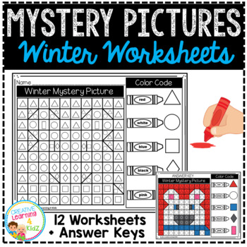 Mystery Picture Worksheets Shapes: Winter