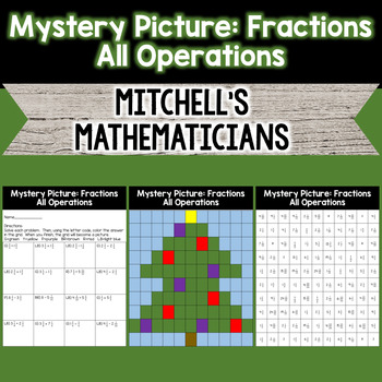 Mystery Picture for Fraction Review All Operations (tree)