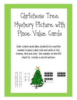 100 Chart Christmas Mystery Picture w/ Place Value & Ten Frames Cards