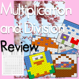 Multiplication and Division Review Mystery Pictures April Theme