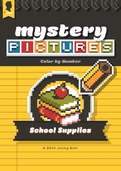 Mystery Pictures: Color By Number Writing Activity Back to School Supplies BTS