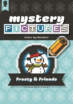 Mystery Pictures: Color By Number Writing Activity Frosty and Snowman Winter