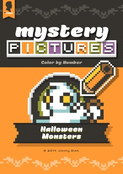 Mystery Pictures: Color By Number Writing Activity Halloween Monsters