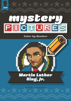 Mystery Pictures: Color By Number Writing Activity Patriotic Martin Luther King