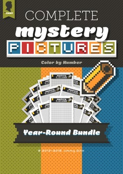 Mystery Pictures: Color By Number Writing Activity COMPLETE Year-Round Bundle