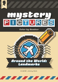 Mystery Pictures: Color By Number Writing Activity Around the World Landmarks