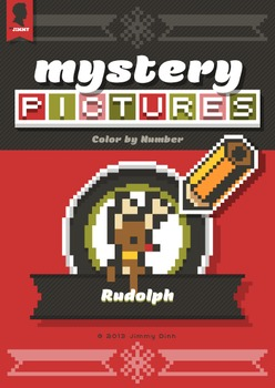 Mystery Pictures: Color By Number Writing Activity Christmas Rudolph